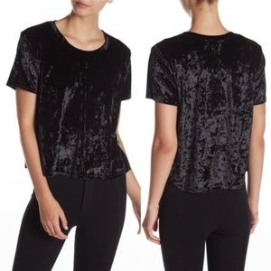 Madison & Berkeley Black Velvet Boxy Tee